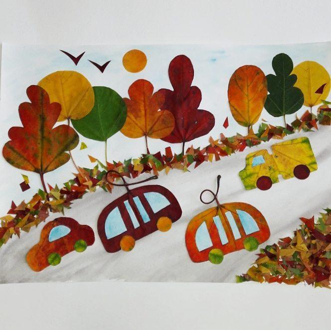 Идея аппликации из осенних листьев