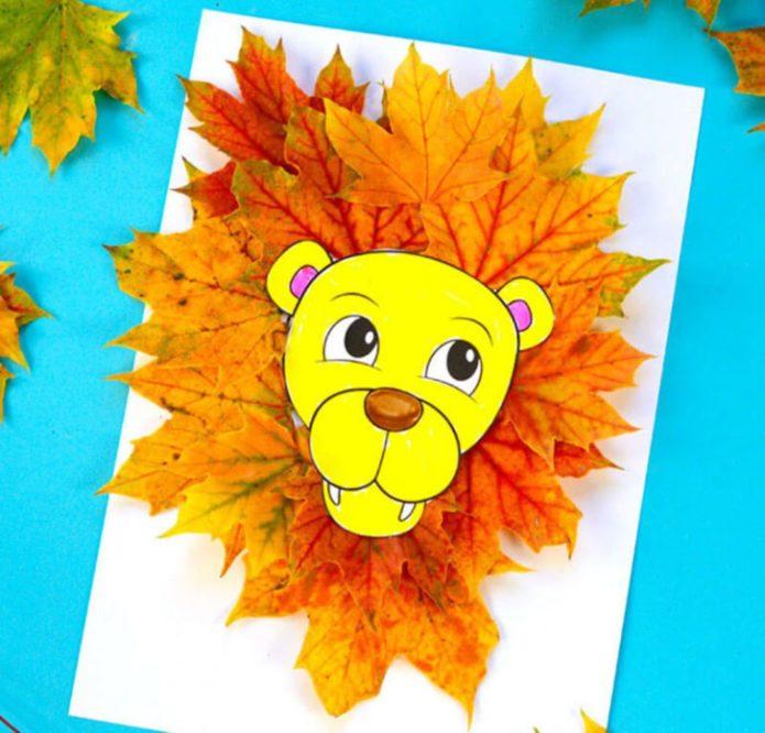 Аппликация лев из осенних листьев