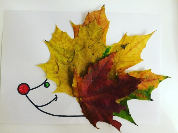 Аппликация еж из осенних листьев