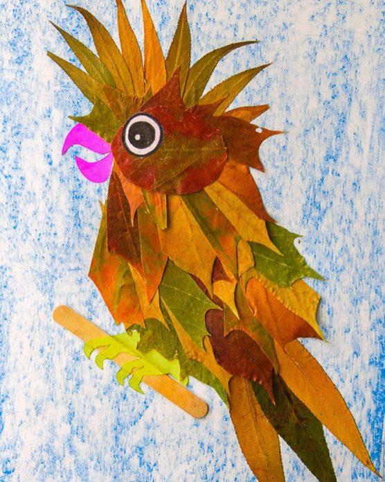 Аппликация попугай из осенних листьев