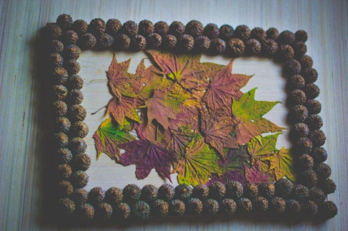 Аппликакция из осенних листьев