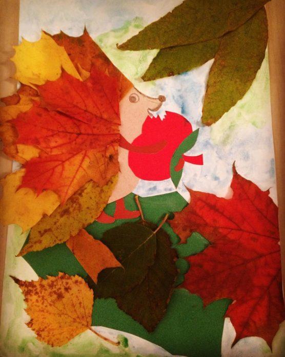 Аппликация с осенними листьями