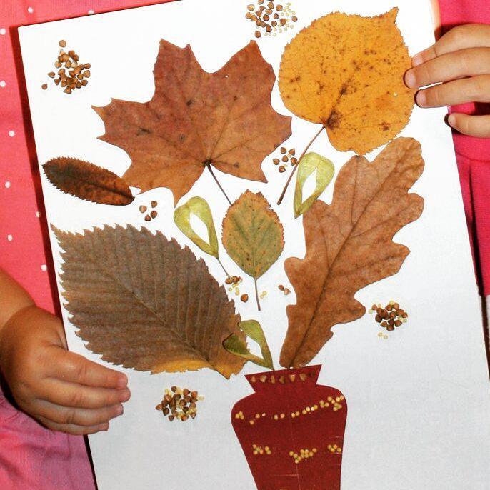 Простая аппликация из осенних листьев