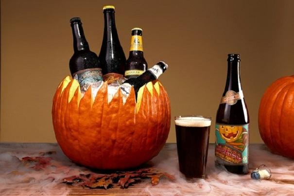 Ведерко из тыквы для напитков на Хэллоуин