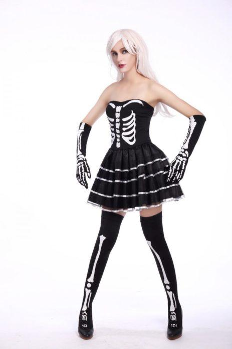 Костюм куклы со скелетом для девушки на Хэллоуин
