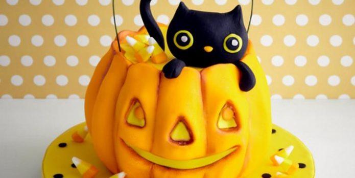 Торт на Хэллоуин в виде тыквы