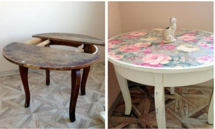 Круглый стол до и после переделки