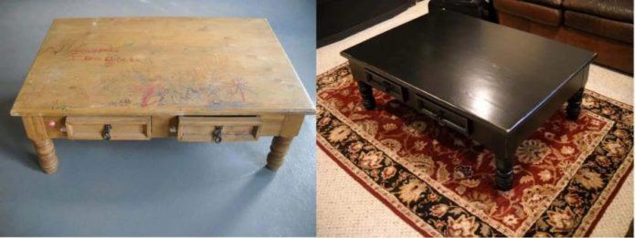 Низкий журнальный столик до и после переделки