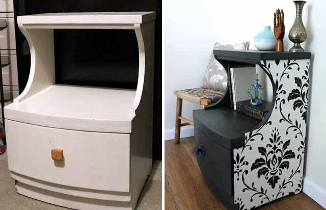 Стол-тумба до и после реставрации