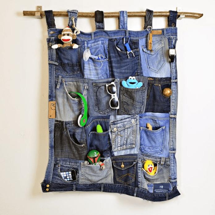 Органайзер из карманов старых джинсов
