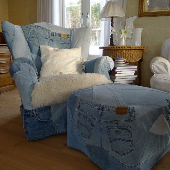 Использование джинсовой ткани для обивки мебели
