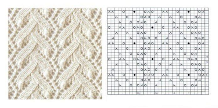 Красивый узор для вязания шарфа