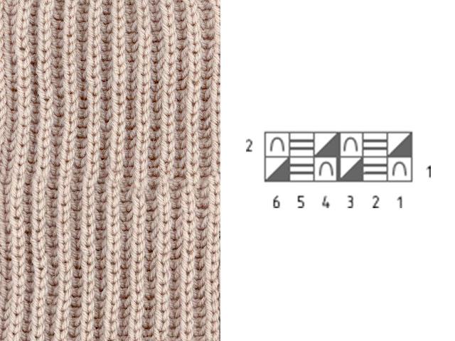 Узор Английская резинка для вязания шарфа
