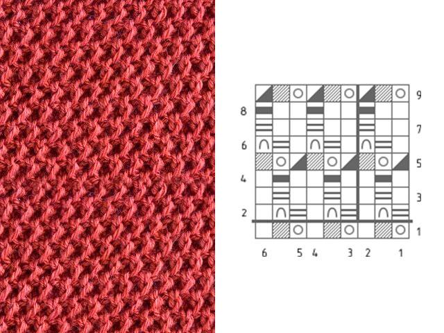 Узор Соты для вязания шарфа
