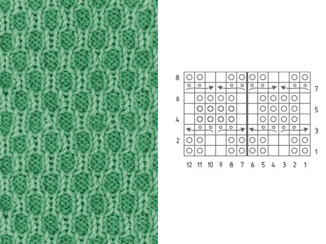 Мозаичный узор для вязания шарфа спицами