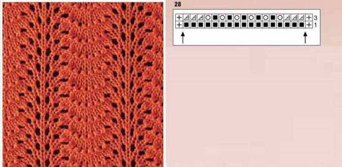 Узор с веерами для вязания шарфа