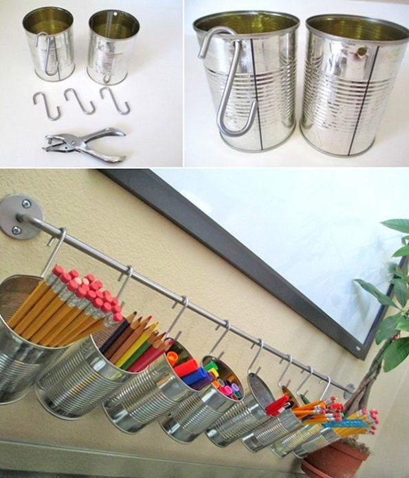 Подставки из жестяных банок для хранения карандашей