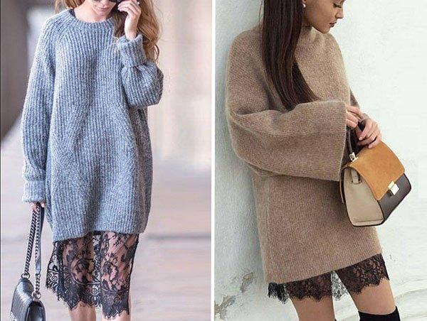 Вязаные платья-свитеры