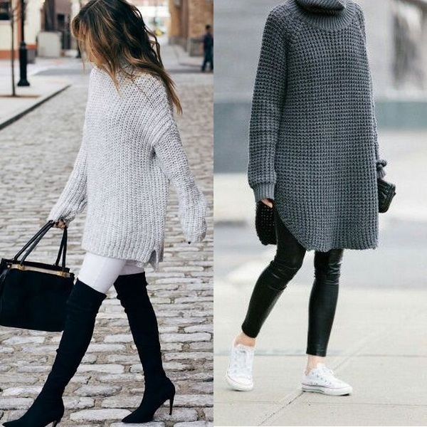 Длинные свитеры оверсайз