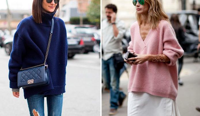 Варианты вязаных свитеров оверсайз