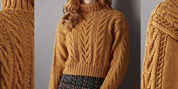 Кроп-свитер коричневого цвета