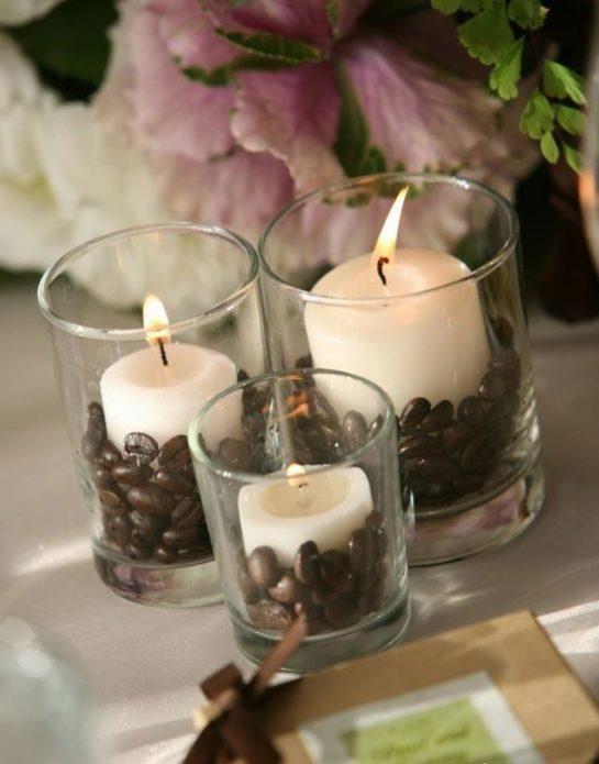 Декор свечей кофейными зернами