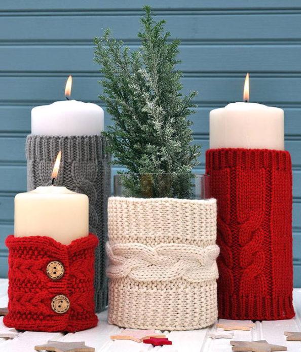Вязаный декор свечей