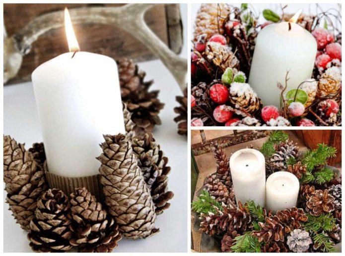 Декор свечей шишками