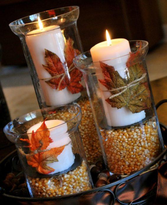Декор свечей листьями и кукурузой
