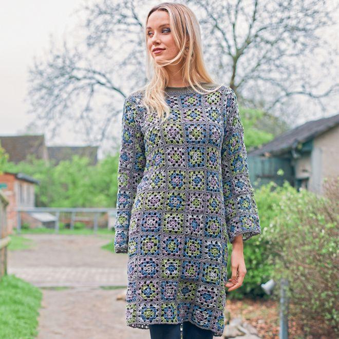 Вязаное платье из бабушкиных квадратов