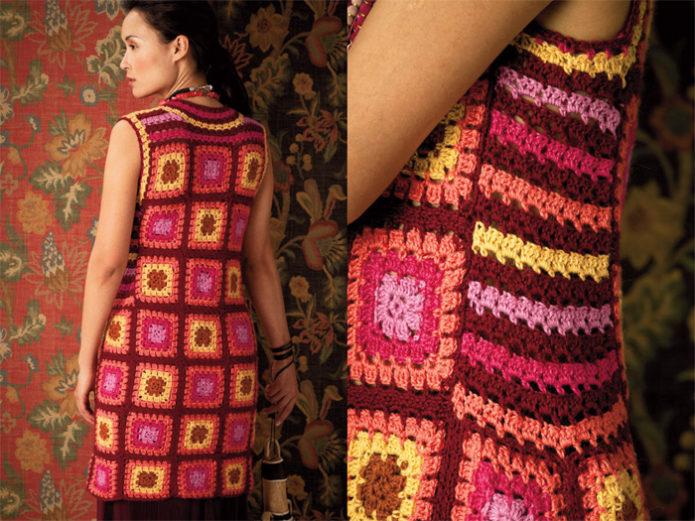 Яркое платье из бабушкиных квадратов