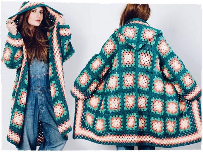 Теплое вязаное пальто из бабушкиных квадратов