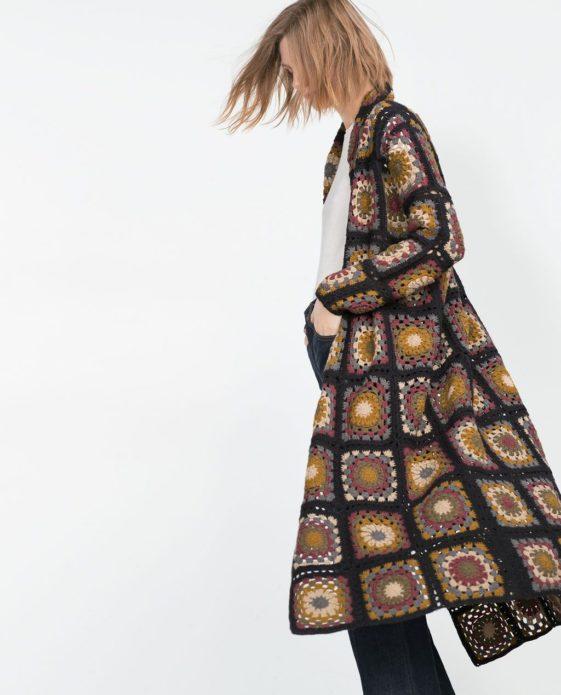 Пальто из бабушкиных квадратов