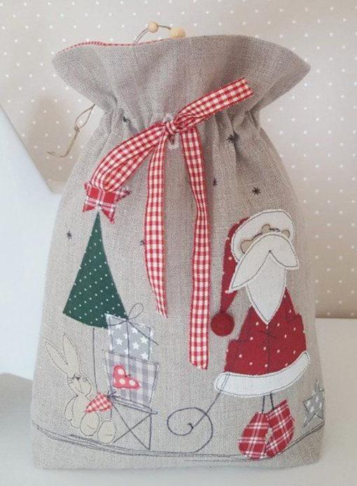 Мешок из ткани для новогоднего подарка