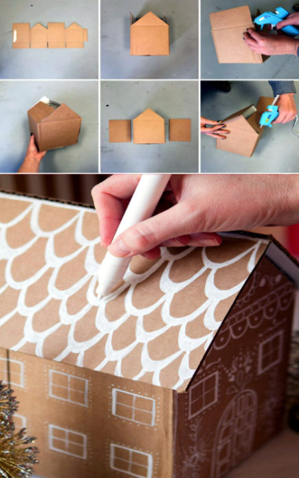 Изготовление домика для упаковки новогоднего подарка
