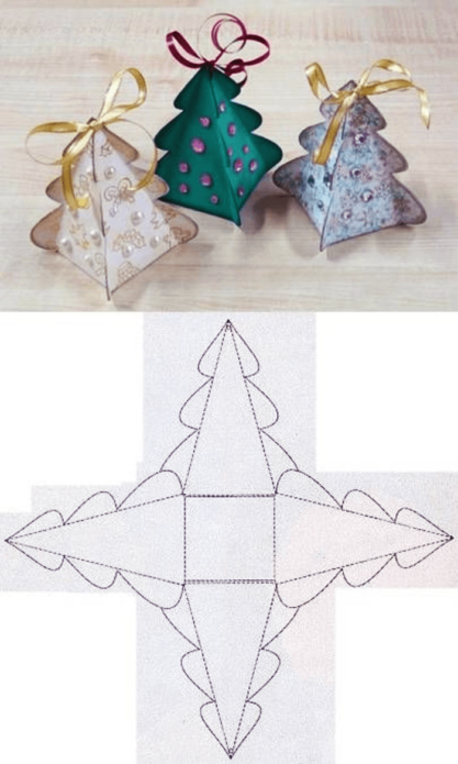 Коробочки-ёлочки для новогодних подарков
