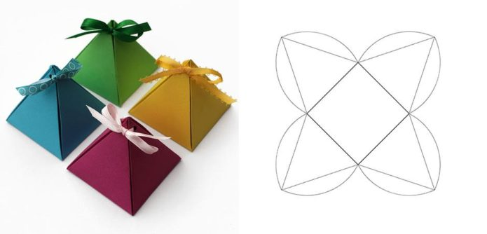 Коробочки-пирамидки для новогодних подарков