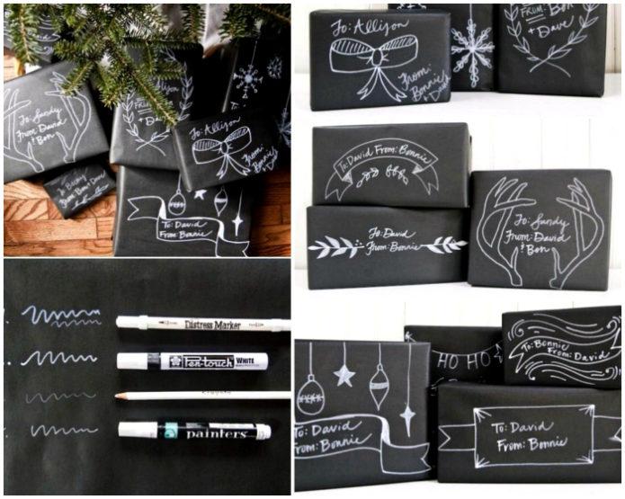 Варианты упаковки новогодних подарков из черной бумаги