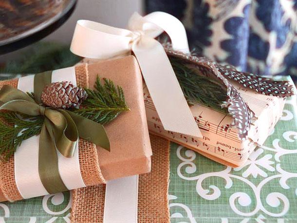 Растительные элементы в оформлении упаковок для подарков