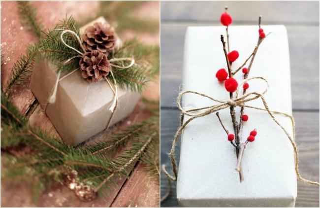Шишки и веточки с ягодами для украшения новогодней упаковки