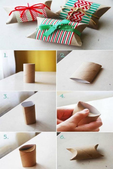 Новогодняя упаковка из бумажных втулок