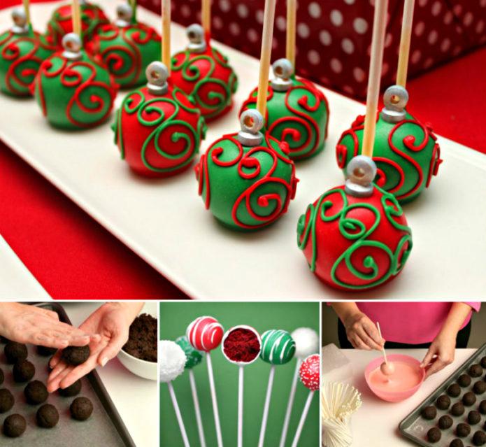 Пирожные в виде ёлочных шаров