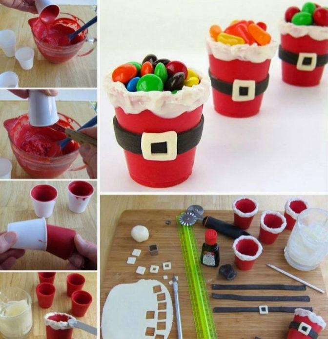 Стаканчики из мастики со сладостями