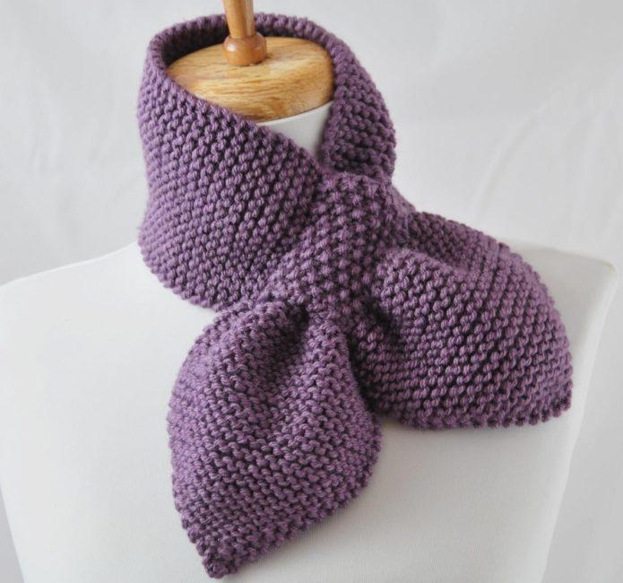 Сиреневый шарф-бант