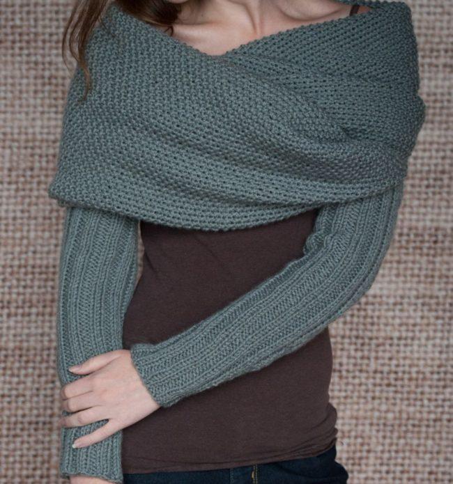 Вязаный шарф-рукава
