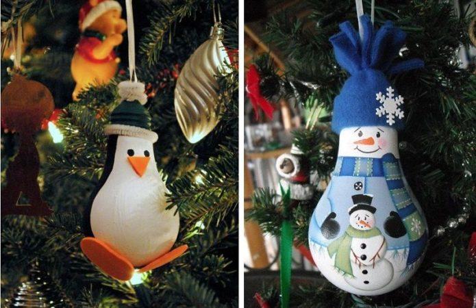Забавные ёлочные игрушки из ламп