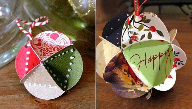 Ёлочные украшения из картона и бумаги