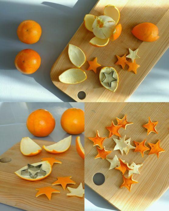 Звёздочки из апельсиновых и мандариновых корок для гирлянды