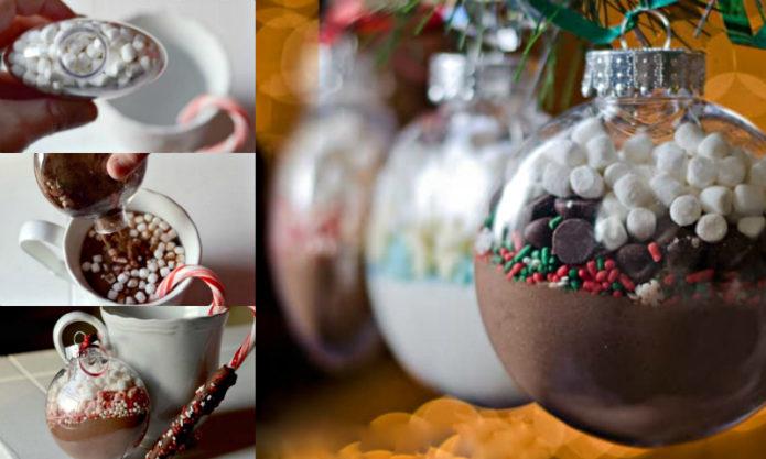 Новогодний шар с набором для горячего какао