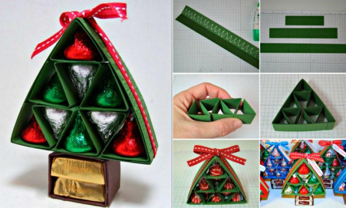 Коробка конфет в виде елочки